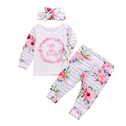 Baby Kleidung Set,BeautyTop 3Pcs Neugeborenen Kleinkind Säugling Baby Mädchen Brief Blume Gedruckt Bluse T-shirt Tops + Hosen Outfits Set (80/3-6 Monat, Weiß) (T-shirt Säugling, Kleinkind)