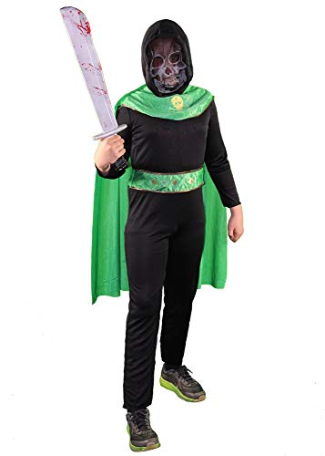 Foxxeo Schwarzes Sensenmann mit grünen Cape und Maske Halloween Kostüm für Jungen zu Halloween Kinder Größe - Grüne Sensenmann Kostüm