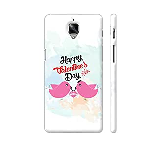Colorpur OnePlus 3 Cover - Happy Valentine Day With Two Pink Birds Printed Back Case