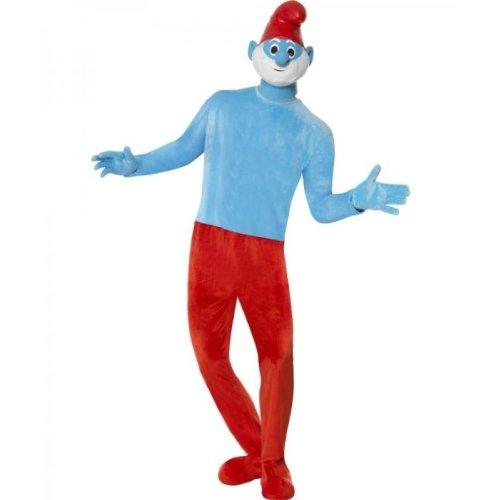 Kostüm Schlumpf Blaue - Hochwertiges Deluxe Papaschlumpfkostüm Papaschlumpf Kostüm Papa Schlumpf die Schlümpfe hochwertig mit Maske rot blau für Herren Herrenkostüm Gr. 48/50 (M), 52/54 (L), Größe:M