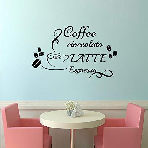 【mzdzhp】【Kann angepasst werden, Größe, Farbe, DIY-Muster】Kaffee schokolade milch italienische wandaufkleber diy wohnkultur vinyl tasse bohnen küche wandtattoos wasserdicht wandtattoos 59 * 86 cm -