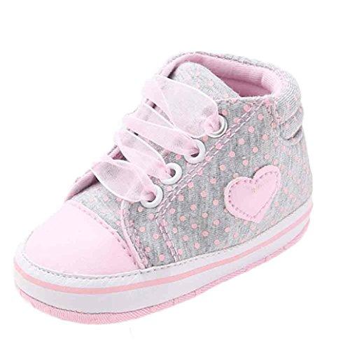 Canvas-baumwoll-shorts (Babyschuhe Longra Baby Mädchen Baumwolle Canvas Hig Cut Schuhe Sneaker rutschfest weiche Sohle Kleinkind Frühjahr Lauflernschuhe Krippeschuhe (0 ~ 18 Monate) (11CM 0-6Monate, Gray))