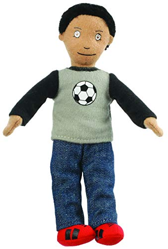Unbekannt Fingerpuppe - Junge Kind Vater Mann - Fußballer - Handspielpuppe Kasperlfigur - Fußballspieler / Fußball T-Shirt - Fingerpuppen Familie Stoffpuppe - Puppe Fig