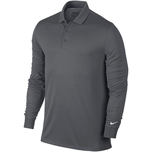 Nike Herren Victory Langarm Poloshirt, Dark Grey/White, XL - Dri-fit-golf Nike Langarm