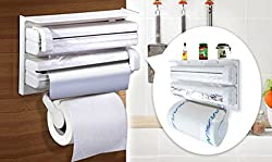 Vivir Kitchen Triple Paper Dispenser & Holder (Tissue Paper Roll, Aluminium Foil and Plastic Wrapping Film)