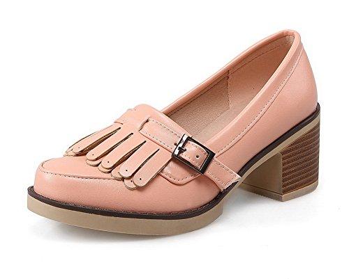 AllhqFashion Femme Couleur Unie Pu Cuir à Talon Haut Rond Boucle Chaussures Légeres Blanc