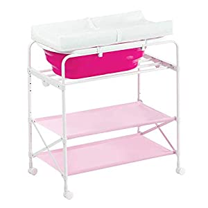 Pink Baby Diaper Station/Table Foldable for Infant, Newborn Changing Clothes Multifunction Bath Dresser with Bathtub   12