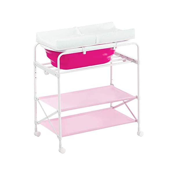 Pink Baby Diaper Station/Table Foldable for Infant, Newborn Changing Clothes Multifunction Bath Dresser with Bathtub GUYUE Two in one design- Baby changing table can be used as baby massaging table as well or dry your baby's small clothes, also can bathing. Iron tube paint + plastic + polyester mesh. Size- As shown, 85x50x100~130cm Folding size- 85x24x112.5~132.5cm (1cm=0.39 inch) Suitable for babies 0~2 years old. 1