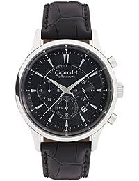 Gigandet Quarz Herren-Armbanduhr Brilliance Chronograph Uhr Datum Analog Lederarmband Schwarz G48-002