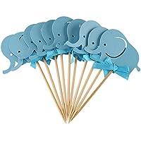 10 piezas/juego Decoración de la torta de la tarjeta de papel, elefante formado doble para la fiesta de cumpleaños del bebé(Elefante azul)