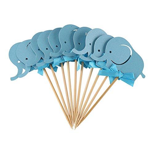 Cupcake Topper, Elefant unter dem Motto Cupcake Topper Baby Dusche Dekoration liefert doppelseitige Kuchen Elefant Karte(blau) (Baby-dusche Elefant Dekorationen)