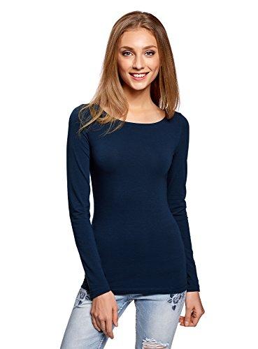 oodji Collection Damen Langarmshirt, Blau, DE 44 / EU 46 / XXL