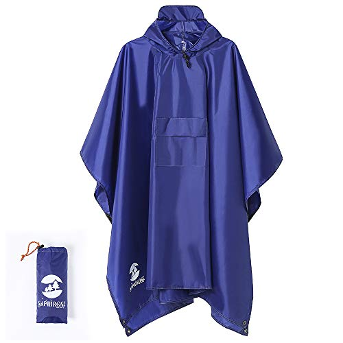 412vvLdlfML. SS500  - 3-in-1 Multi-Functional Waterproof Poncho Hooded Outdoor Adult - Waterproof Raincoat,Sunshade Tarp,Tent Ground Sheet Mat - 85.4 x 56.3 inches Polyester Fabric