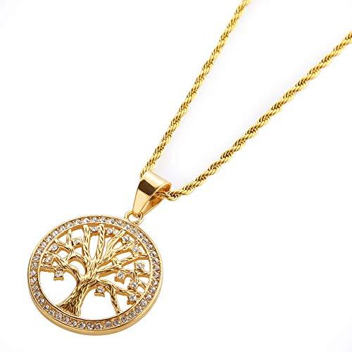 ZSML Men es Halskette Pendant, Inlay Zircon Tree of Life Pendant Edelstahl Gold Platte Hip Hop Twist ()