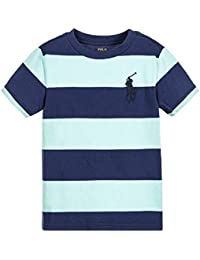 Ralph Lauren Polo Big Pony Boys Navy Blue   Green Striped T-Shirt Size  Medium f200234f85a31