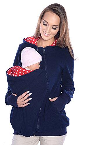 MijaCulture 3 en 1 Sudadera con Capucha de Lana Maternidad/con 2 Inserciones Removibles/para portadores de bebé 4018A (XXL / 44, Azul Oscuro)
