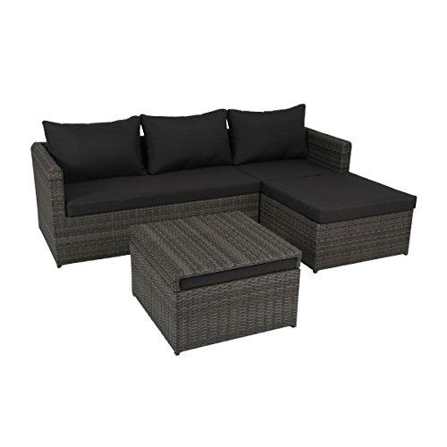 greemotion Rattan-Lounge Ibiza - Gartenmöbel-Set 3-teilig aus Polyrattan in Grau mit Auflagen in Anthrazit - Design-Loungeset mit 2x Rattansofa-Elemente & Hocker-Tisch - Outdoor-Lounge