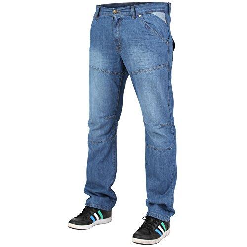 Newfacelook Herren Gerade Passen Jeans Konstrukteur Mode Denim Keuchen Hose Dark-Blue