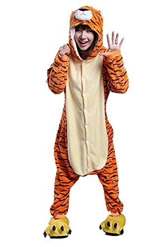 Missley Einhorn Pyjamas Kostüm Overall Tier Nachtwäsche Erwachsene Unisex Cosplay (M, Jumping tiger) (Tiger Kostüm Kostüm)