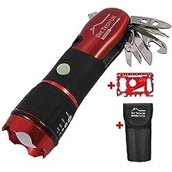 DIY TECH UK - 15-en-1 Outil Multifonction Lampe de Poche + OUTIL 48-en-1 GRATUIT - Toute Dernière Technologie LED à Haute Luminosité - Visibilité de 300 Mètres - EXTRA FORT Acier - Rouge