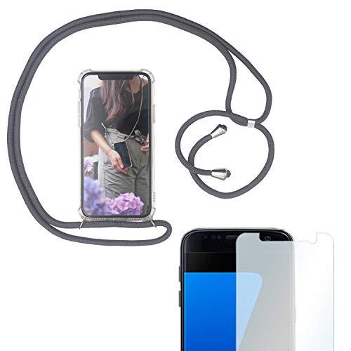 Eximmobile Handykette + Folie Schutzhülle kompatibel mit Samsung Galaxy A8 2018 Handy Hülle mit Band Seil in Grau Schnur Case zum Umhängen Handytasche Umhängehülle Kette Kordel Silikoncase Tragen