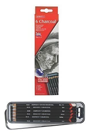 Derwent Charcoal Pencils 6 Tin   1 x Light 2