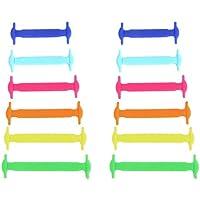 Juego de 12 cordones de silicona para los zapatos de los niños, Multi-Colored