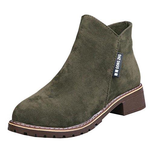 Mashiaoyi Donna Round-Toe Tacco a Blocco Zip Velvet Boots Army Green