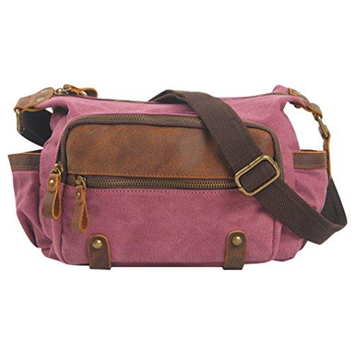 MissFox Maschio Borsa Di Tela Uomini Messenger Bag Retrò Classico Casual Bag Canvas Croce Corpo Rose