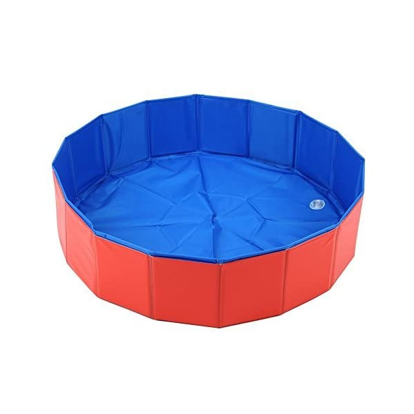 T Tocas Premium Foldable Pet Dogs Cats Swimming Cool Pools Round Shape Bathing Tub, Waterproof, 80 cm. D x 20 cm. H, Red & Blue 1
