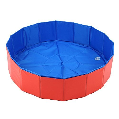 T Tocas Premium Foldable Pet Dogs Cats Swimming Cool Pools Round Shape Bathing Tub, Waterproof, 80 cm. D x 20 cm. H, Red & Blue