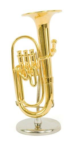 Kleine Tuba - Farbmessing vergoldet - Dekorationsgegenstand - Geschenk Musik - In seinem Kästchen mit Ständer geliefert - Höhe 10 cm