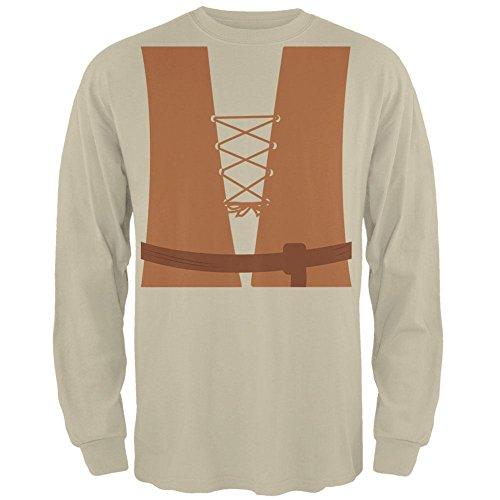 Halloween mittelalterliche Bauer Kostüm Herren Long Sleeve T Shirt Sand 2XL (Mittelalterliche Bauer Kostüme)