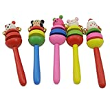 #3: Baby Station Colorful Wooden Rainbow Handle Rattle set 2 Pack