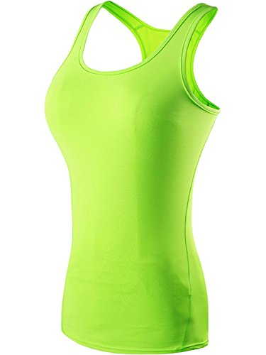 The Blazze Women's Yoga Tank Top Compression Racerback Top Baselayer Quick Dry Sports Runing Vest (XXL, Green)