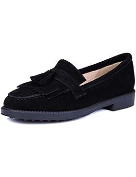 Beauqueen Bombas Mary Janes borlas de gamuza Rond Toe trabajo plano Zapatos casuales UE tamaño 34-39 , black , 35
