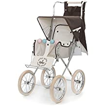 Carrito silla gemelar gris plegable. bblux Sillita para muñecas modelo Big Estocolmo 78 cm - Réplica auténtica de silla inglesa fabricada