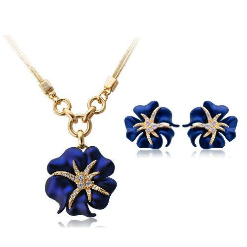 SWAROVSKI österreichischen Kristall-18K Blaue Seestern Anhänger Halskette und Ohrringe Modeschmuck