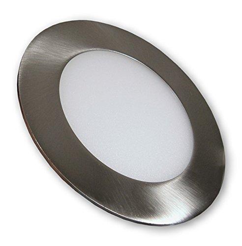 lichtdiscount / 6 W - LED mini Panel Einbauleuchten Lampen Strahler 230 V Deckenspot - Edelstahl Optik gebürstet