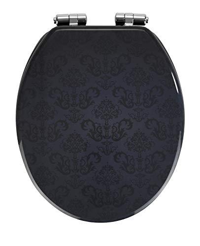 Wenko WC-Sitz Bellevue - Toiletten-Sitz, mit Absenkautomatik, rostfreie Fix-Clip Hygiene Zinkdruckgussbefestigung, 35,5 x 42,5 cm