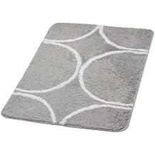 Ridder 7363070-350 Circle - Alfombra de baño (60 x 90 cm, 90 % poliéster, 10 % acrílico), color gris con círculos blancos