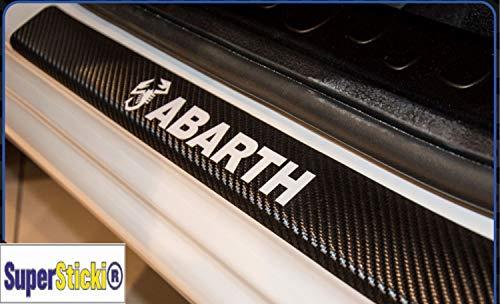 SUPERSTICKI Abarth mit Skorpion Carbon Carbonfolie Carbon Aufkleber Folie Optic Einstiegsleisten Set 2 Türen Ausgeschnitten Rennsport Racing Tuning