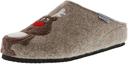 he Pantoffeln Naturwollfilz Rentier beige, Größe:40, Farbe:Beige ()