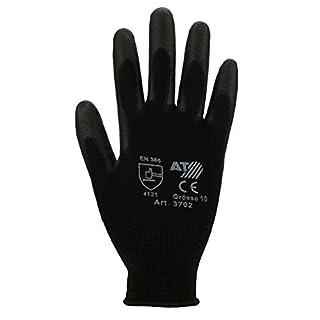 Asatex 3702 Feinstrick-Handschuhe mit PU-Beschichtung Größe 10 in schwarz