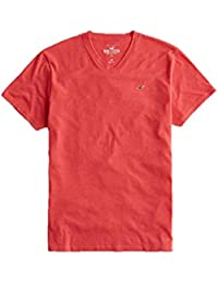 Hollister New Red V Neck Icon T-Shirt Tee Top Boys Shirt Men SZ: Small/S