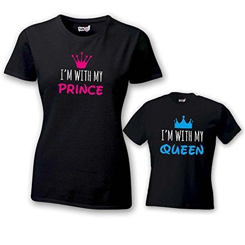 Coppia Di T Shirt Donna Bambino Festa Della Mamma I'm With My Queen T-Shirt Nere Mamma e Maschietto