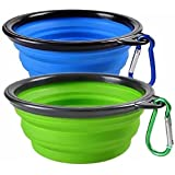 Woodlandu portátil Plegable de Viaje de Silicona para Mascotas Perro Gato Comida Agua Verde, Azul Cuencos con mosquetón, para