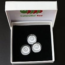 Caterpillar Red - Nivel de burbuja profesional (de color blanco), con guía de bola de metal, miniviales circulares redondos de diana (pack de 3, se suministran en caja de regalo)