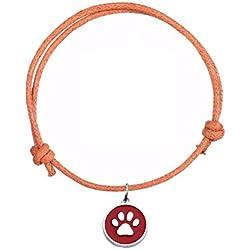 STRASS & PAILLETTES Bracelet en Coton Orange avec médaille Patte Chien ou Chat Rouge et argenté. Bracelet Lien Coulissant Patte Animal