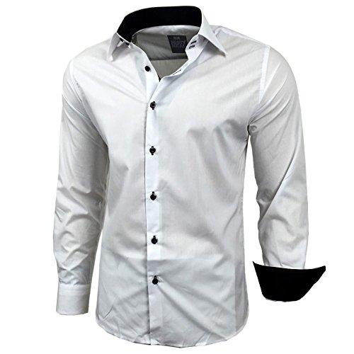 BAXBOY contrasto Slim Fit uomo camicie Business Tempo Libero Camicia a maniche lunghe per 44–RN 2 Nero Bianco